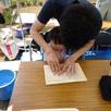 珪藻土塗り壁体験&手形つくり2