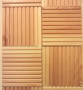 アール状の棚板とウェーブタイル